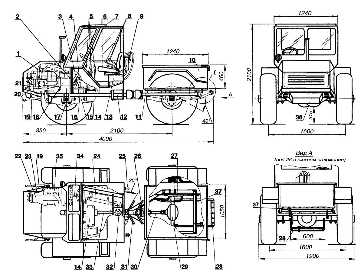 Трактор своими руками с двигателем ваз чертежи 97