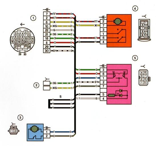 Ваз 2107 схема включения задних фонарей